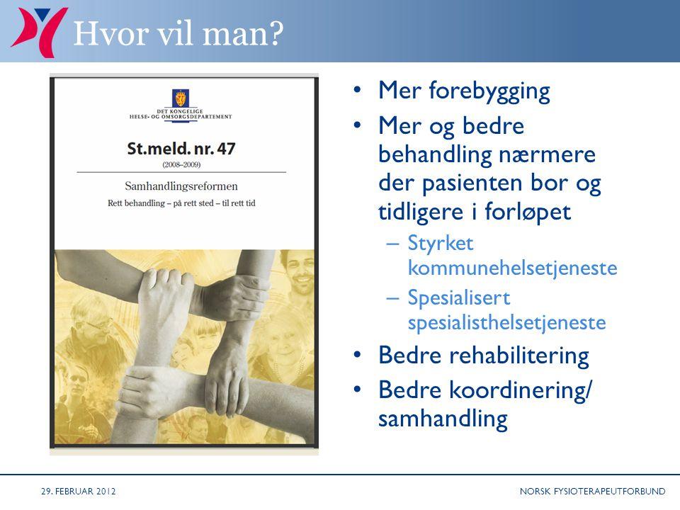 NORSK FYSIOTERAPEUTFORBUND NÅ ER RIKTIG TIDSPUNKT FOR Å PÅVIRKE!