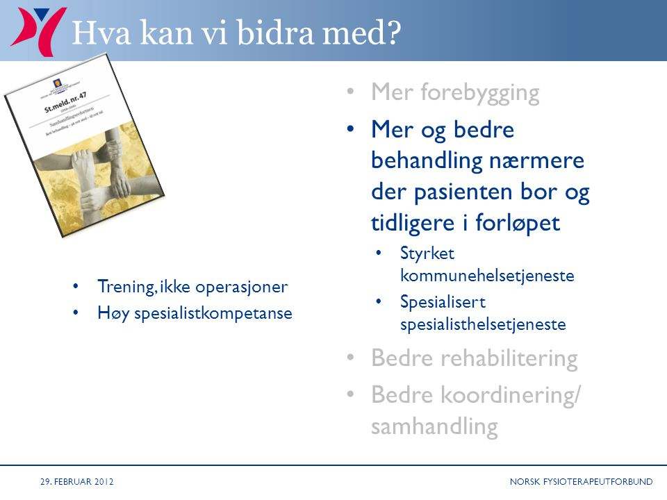 NORSK FYSIOTERAPEUTFORBUND Styringsdokumenter