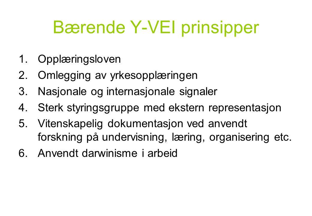 Bærende Y-VEI prinsipper 1.Opplæringsloven 2.Omlegging av yrkesopplæringen 3.Nasjonale og internasjonale signaler 4.Sterk styringsgruppe med ekstern r