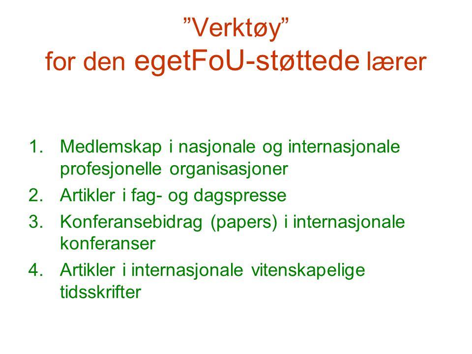 """""""Verktøy"""" for den egetFoU-støttede lærer 1.Medlemskap i nasjonale og internasjonale profesjonelle organisasjoner 2.Artikler i fag- og dagspresse 3.Kon"""