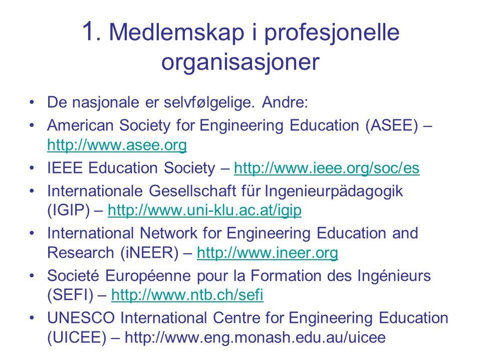 1. Medlemskap i profesjonelle organisasjoner De nasjonale er selvfølgelige. Andre: American Society for Engineering Education (ASEE) – http://www.asee