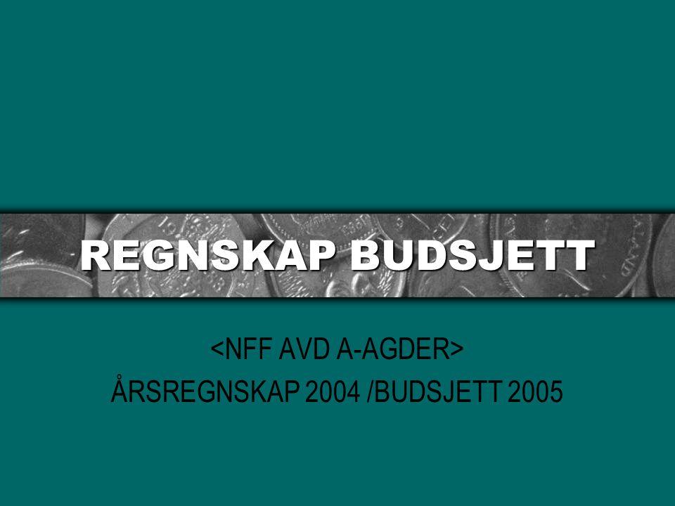 REGNSKAP BUDSJETT ÅRSREGNSKAP 2004 /BUDSJETT 2005
