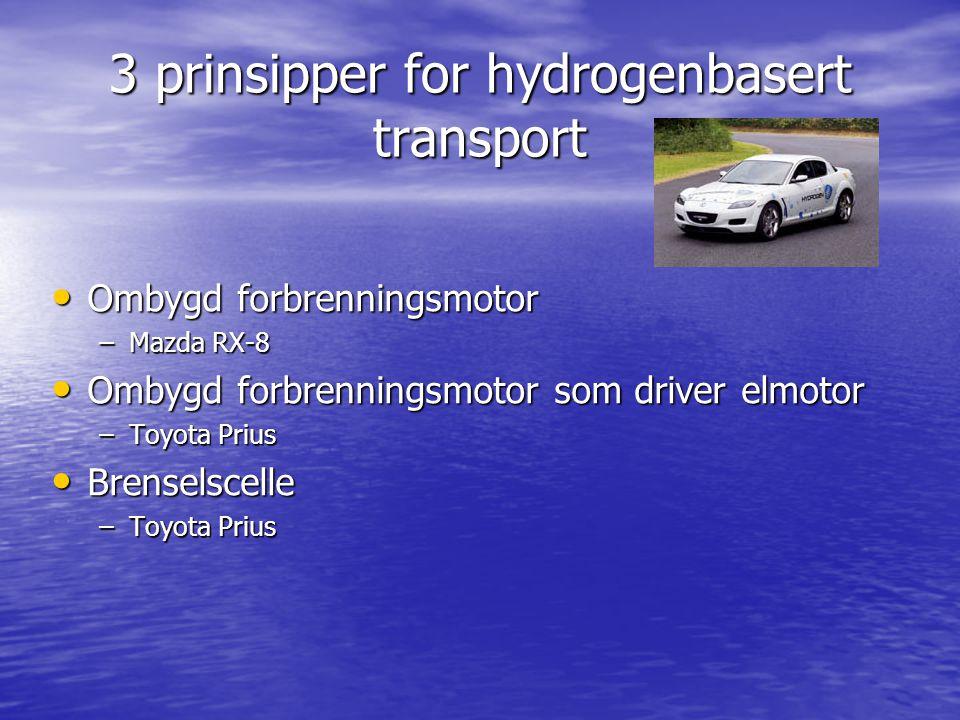 3 prinsipper for hydrogenbasert transport Ombygd forbrenningsmotor Ombygd forbrenningsmotor –Mazda RX-8 Ombygd forbrenningsmotor som driver elmotor Om