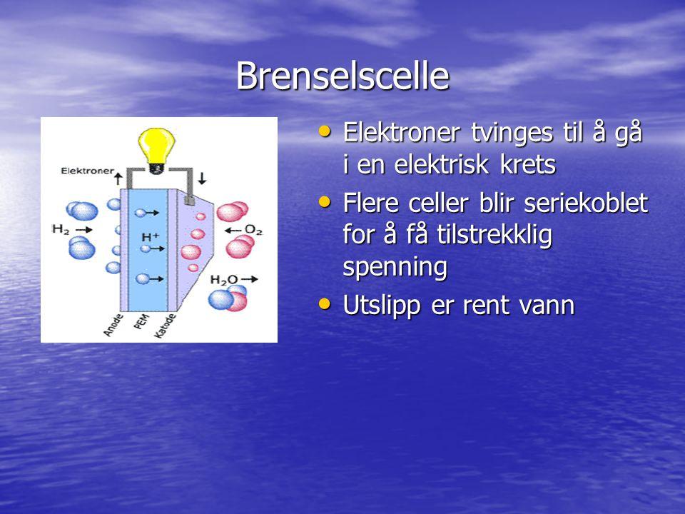 Brenselscelle Elektroner tvinges til å gå i en elektrisk krets Elektroner tvinges til å gå i en elektrisk krets Flere celler blir seriekoblet for å få