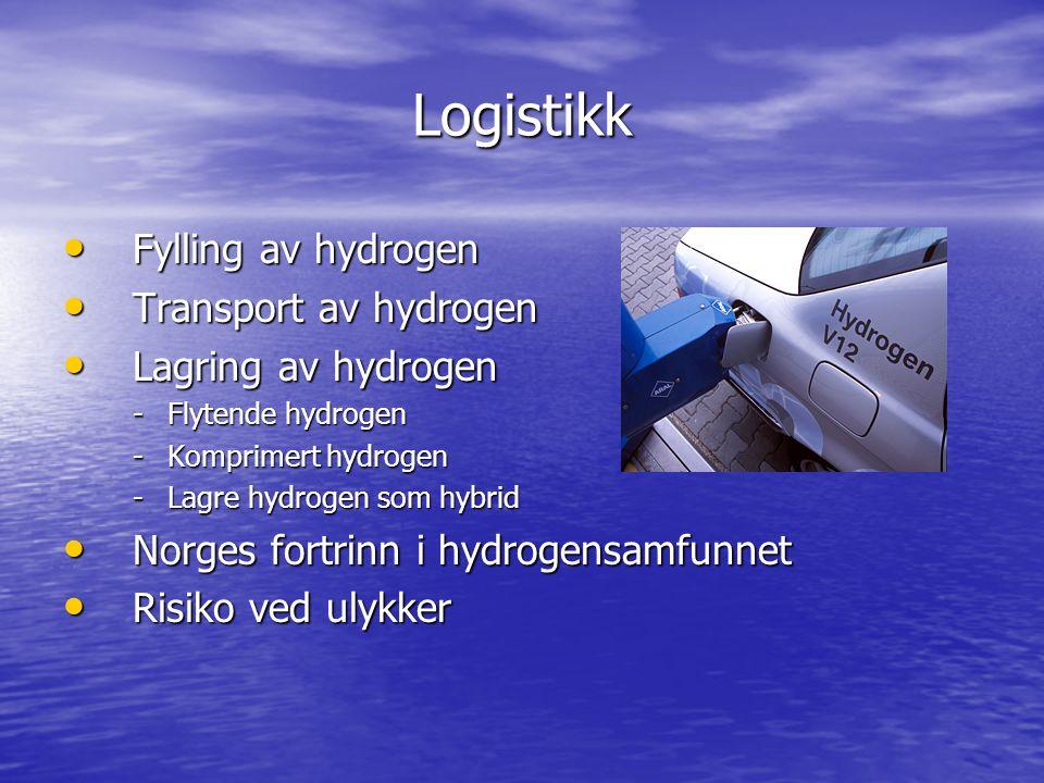 Logistikk Fylling av hydrogen Fylling av hydrogen Transport av hydrogen Transport av hydrogen Lagring av hydrogen Lagring av hydrogen -Flytende hydrog
