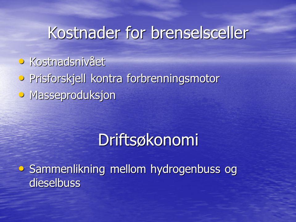 Kostnader for brenselsceller Kostnadsnivået Kostnadsnivået Prisforskjell kontra forbrenningsmotor Prisforskjell kontra forbrenningsmotor Masseproduksj