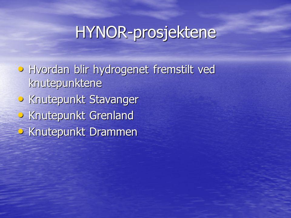 HYNOR-prosjektene Hvordan blir hydrogenet fremstilt ved knutepunktene Hvordan blir hydrogenet fremstilt ved knutepunktene Knutepunkt Stavanger Knutepu