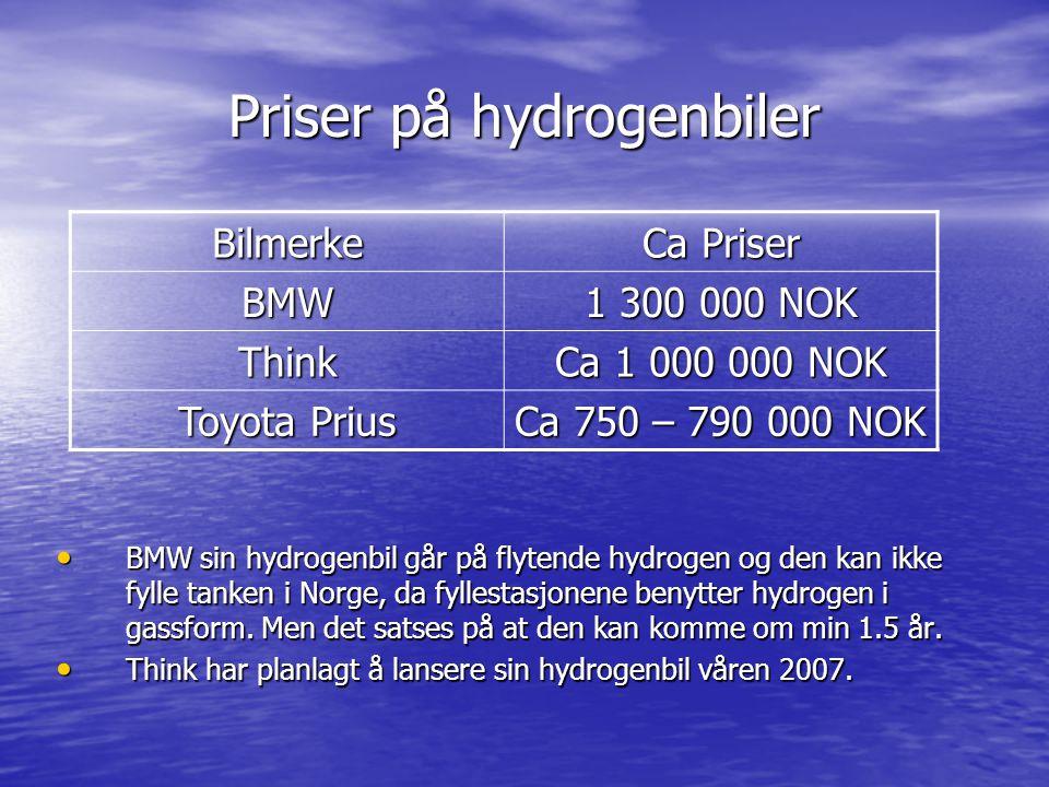Priser på hydrogenbiler Bilmerke Ca Priser BMW 1 300 000 NOK Think Ca 1 000 000 NOK Toyota Prius Ca 750 – 790 000 NOK BMW sin hydrogenbil går på flyte