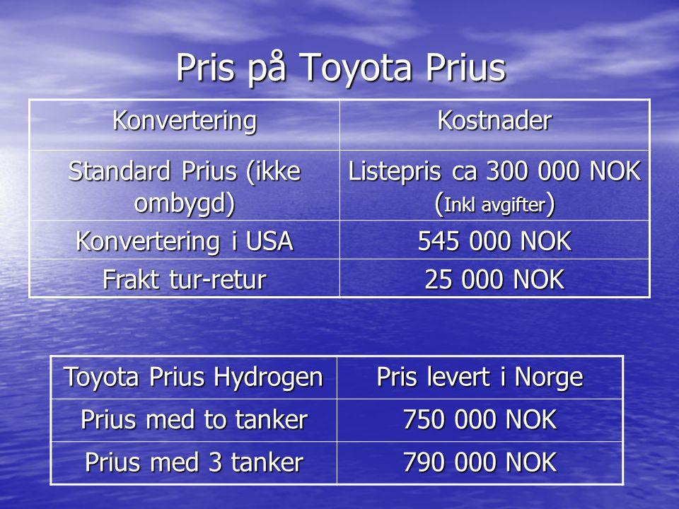 Pris på Toyota Prius KonverteringKostnader Standard Prius (ikke ombygd) Listepris ca 300 000 NOK ( Inkl avgifter ) Konvertering i USA 545 000 NOK Frak