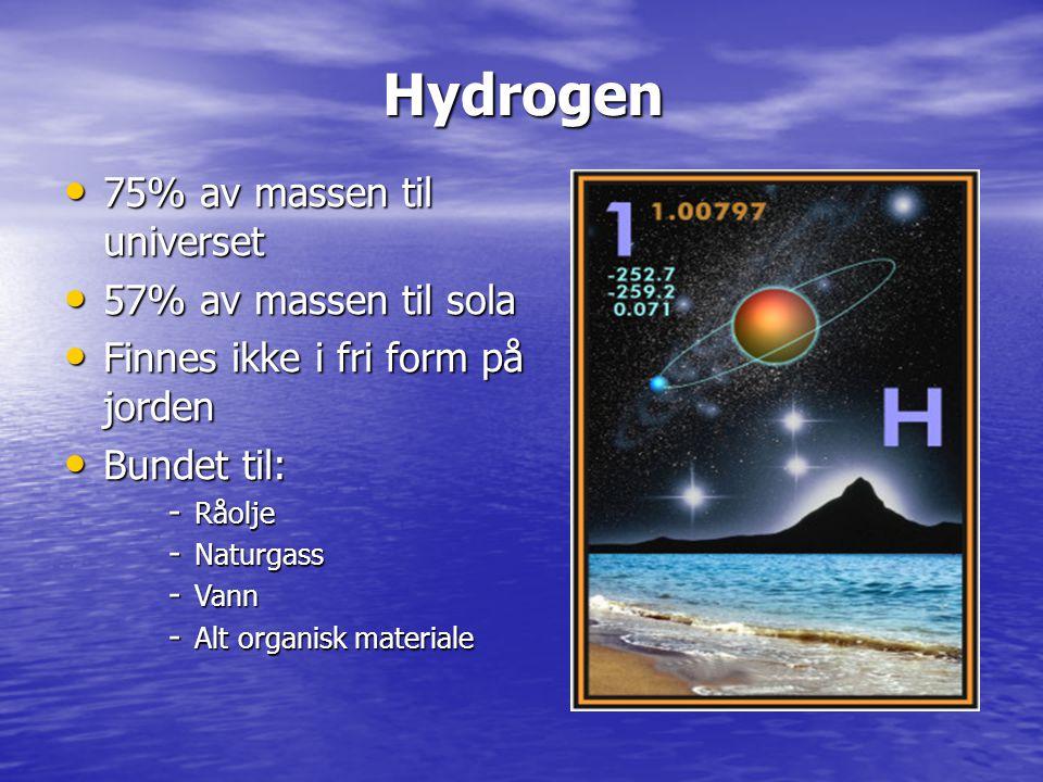 75% av massen til universet 75% av massen til universet 57% av massen til sola 57% av massen til sola Finnes ikke i fri form på jorden Finnes ikke i f