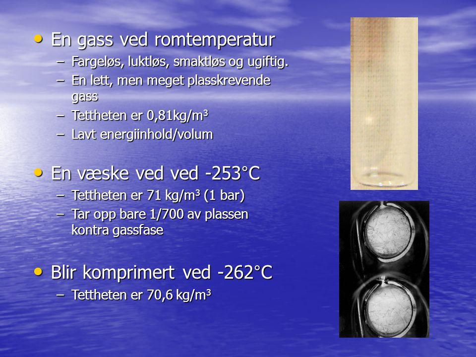 BrennstoffTetthet (kg/m 3 ) Energiinnhold (MJ /m 3 ) Bensin75032900 Diesel85536500 Naturgass (Metan) [1] [1] 1115500 Hydrogen gass [2] [2] 14,71767 Hydrogen væske [3] [3] 718530 [1] [1] Gass: 20 C, 165,5 bar [2] [2] Gass: 20 C, 165,5 bar [3] [3] Væske: -253 C ca 1 bar