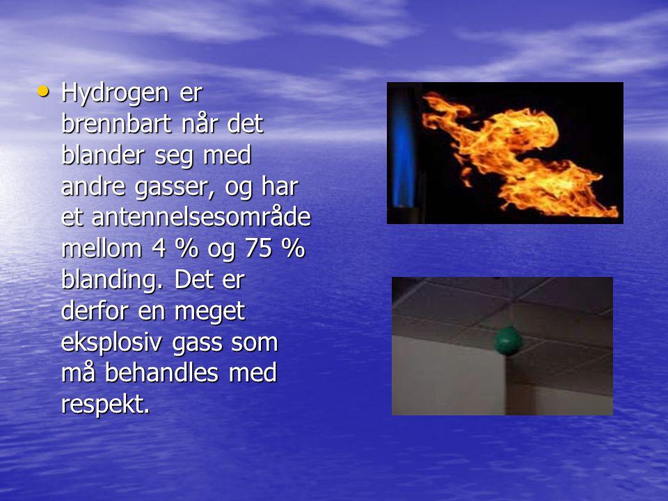 Hydrogen er brennbart når det blander seg med andre gasser, og har et antennelsesområde mellom 4 % og 75 % blanding. Det er derfor en meget eksplosiv