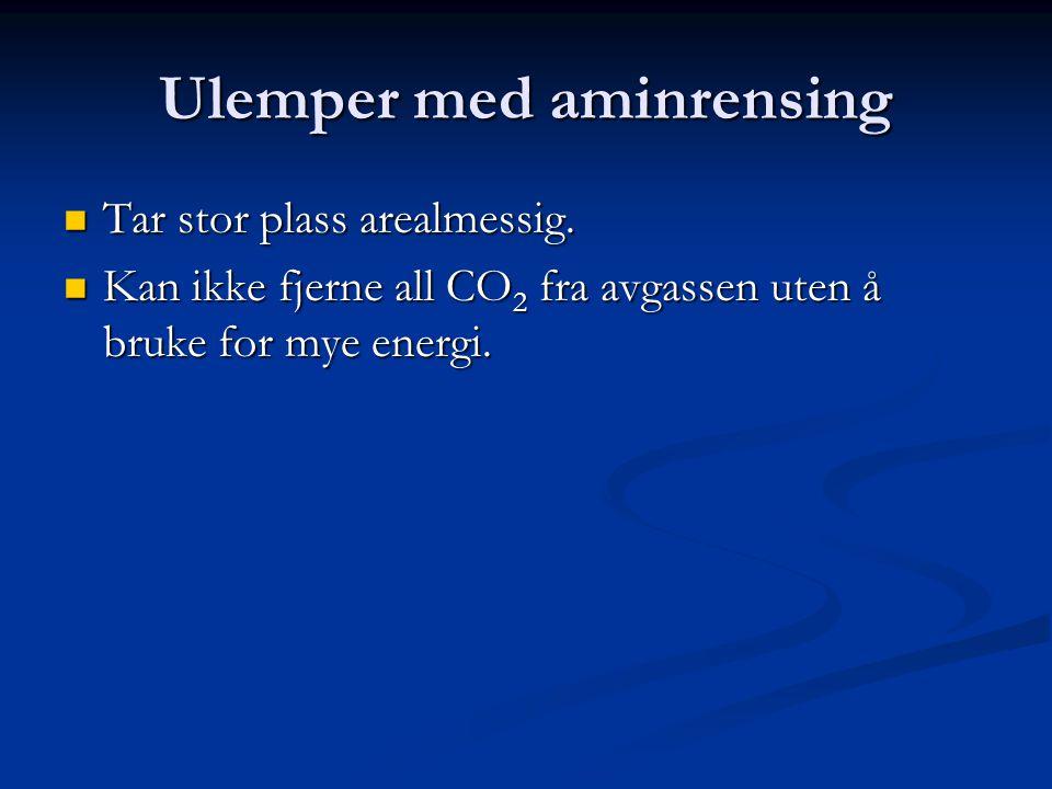 Ulemper med aminrensing Tar stor plass arealmessig. Tar stor plass arealmessig. Kan ikke fjerne all CO 2 fra avgassen uten å bruke for mye energi. Kan