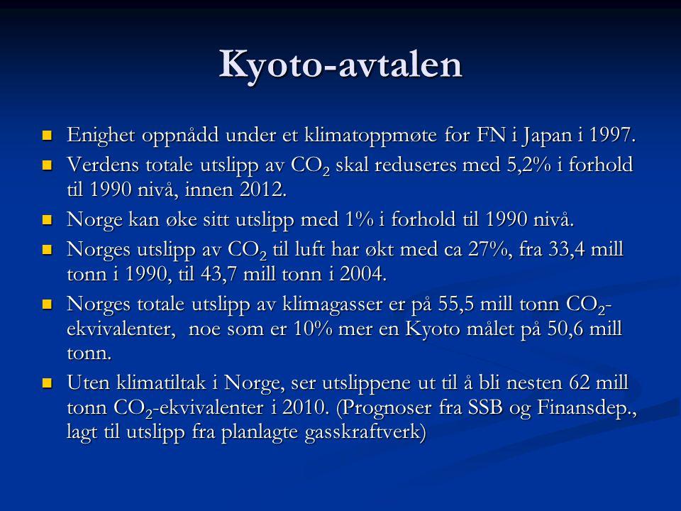 Kyoto-avtalen Enighet oppnådd under et klimatoppmøte for FN i Japan i 1997. Enighet oppnådd under et klimatoppmøte for FN i Japan i 1997. Verdens tota