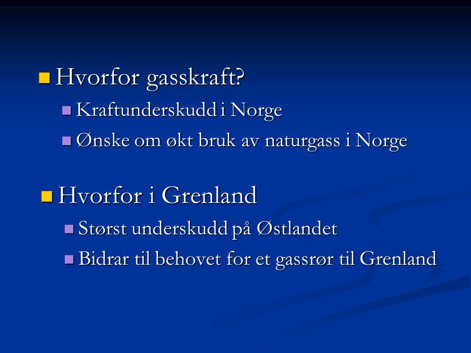 Hvorfor gasskraft? Hvorfor gasskraft? Kraftunderskudd i Norge Kraftunderskudd i Norge Ønske om økt bruk av naturgass i Norge Ønske om økt bruk av natu