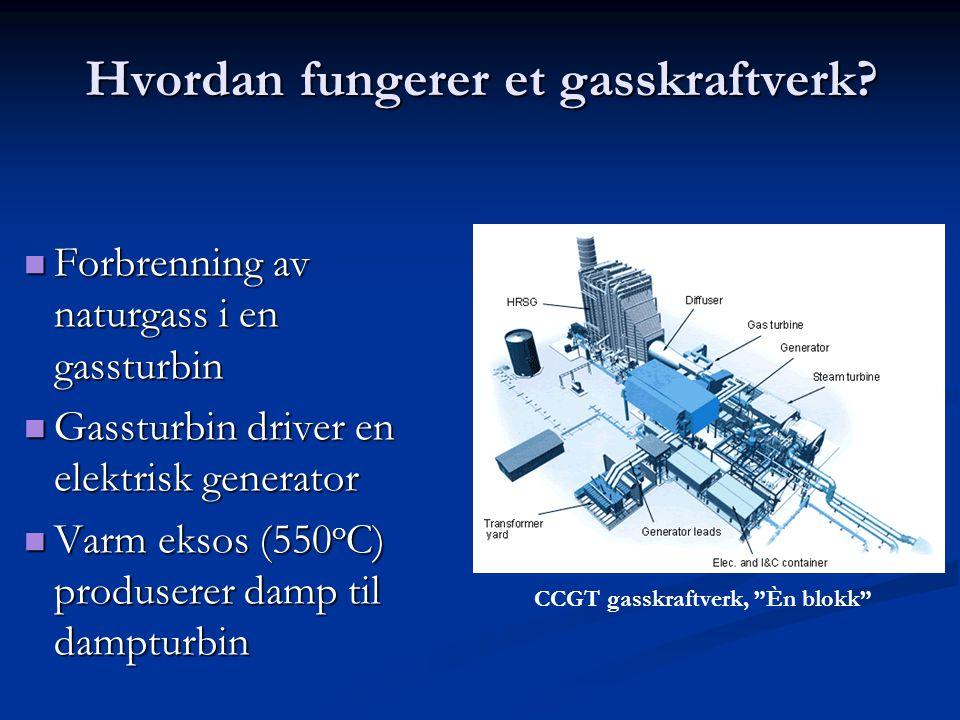 Hvordan fungerer et gasskraftverk? Forbrenning av naturgass i en gassturbin Forbrenning av naturgass i en gassturbin Gassturbin driver en elektrisk ge