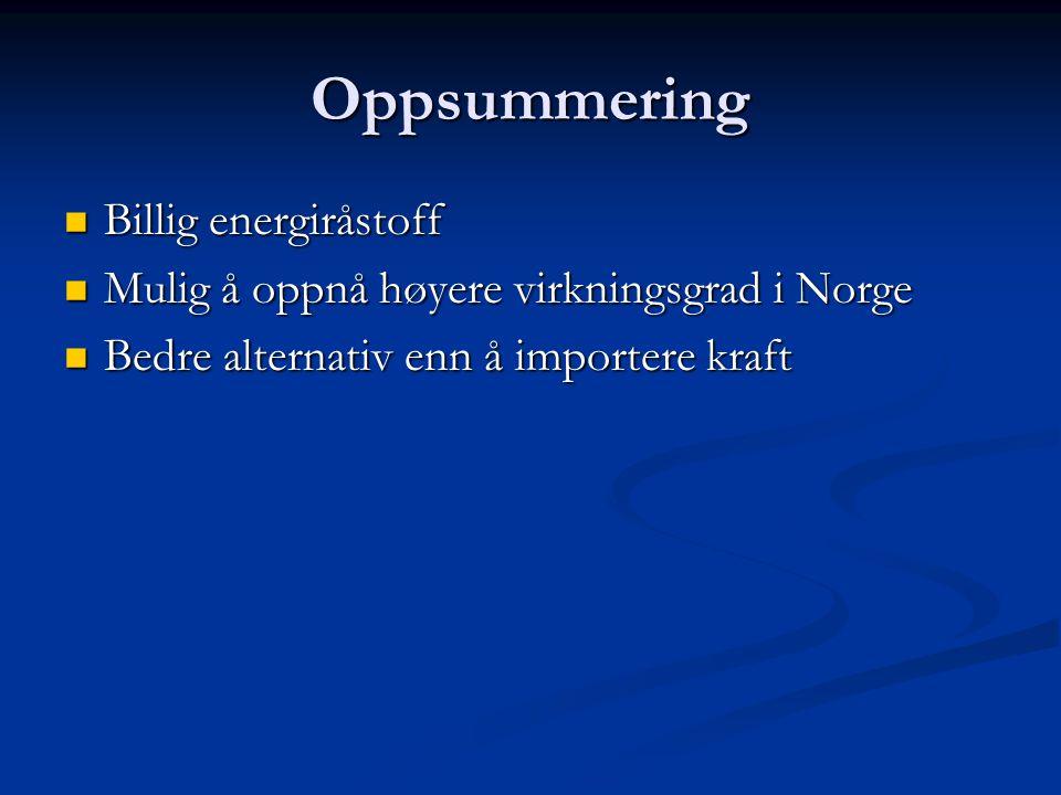 Oppsummering Billig energiråstoff Billig energiråstoff Mulig å oppnå høyere virkningsgrad i Norge Mulig å oppnå høyere virkningsgrad i Norge Bedre alt
