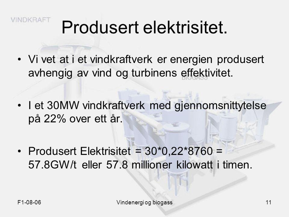 F1-08-06Vindenergi og biogass11 Produsert elektrisitet. Vi vet at i et vindkraftverk er energien produsert avhengig av vind og turbinens effektivitet.
