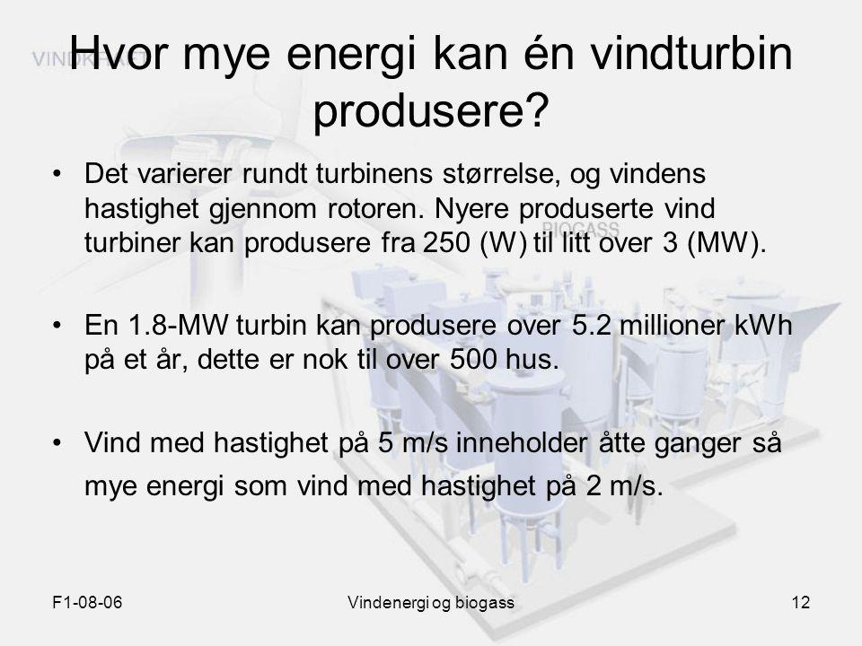 F1-08-06Vindenergi og biogass12 Hvor mye energi kan én vindturbin produsere? Det varierer rundt turbinens størrelse, og vindens hastighet gjennom roto