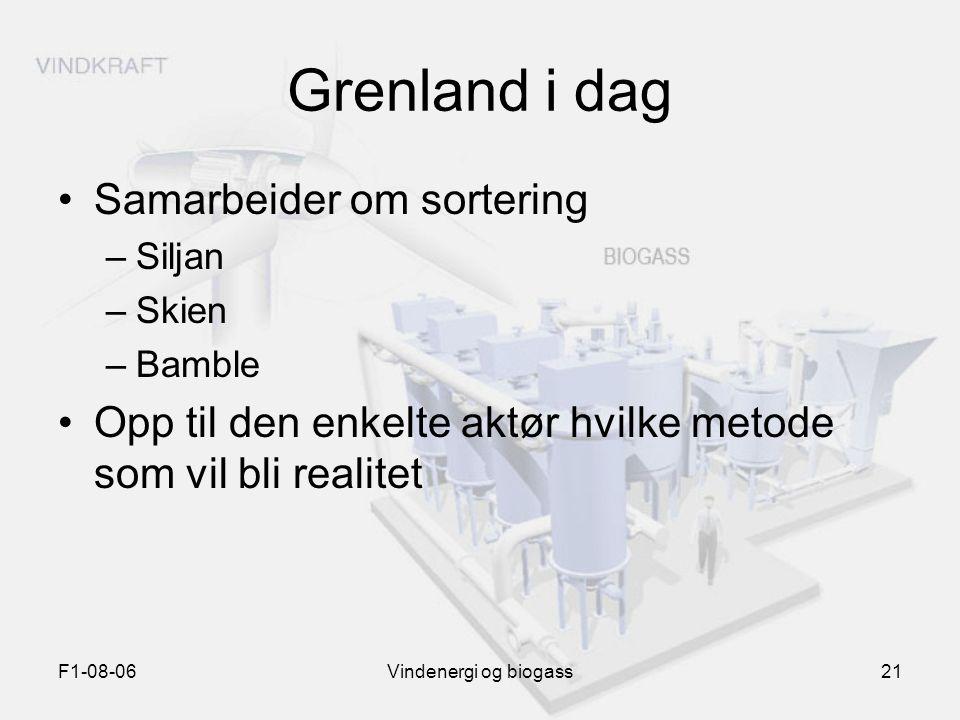 F1-08-06Vindenergi og biogass21 Grenland i dag Samarbeider om sortering –Siljan –Skien –Bamble Opp til den enkelte aktør hvilke metode som vil bli rea