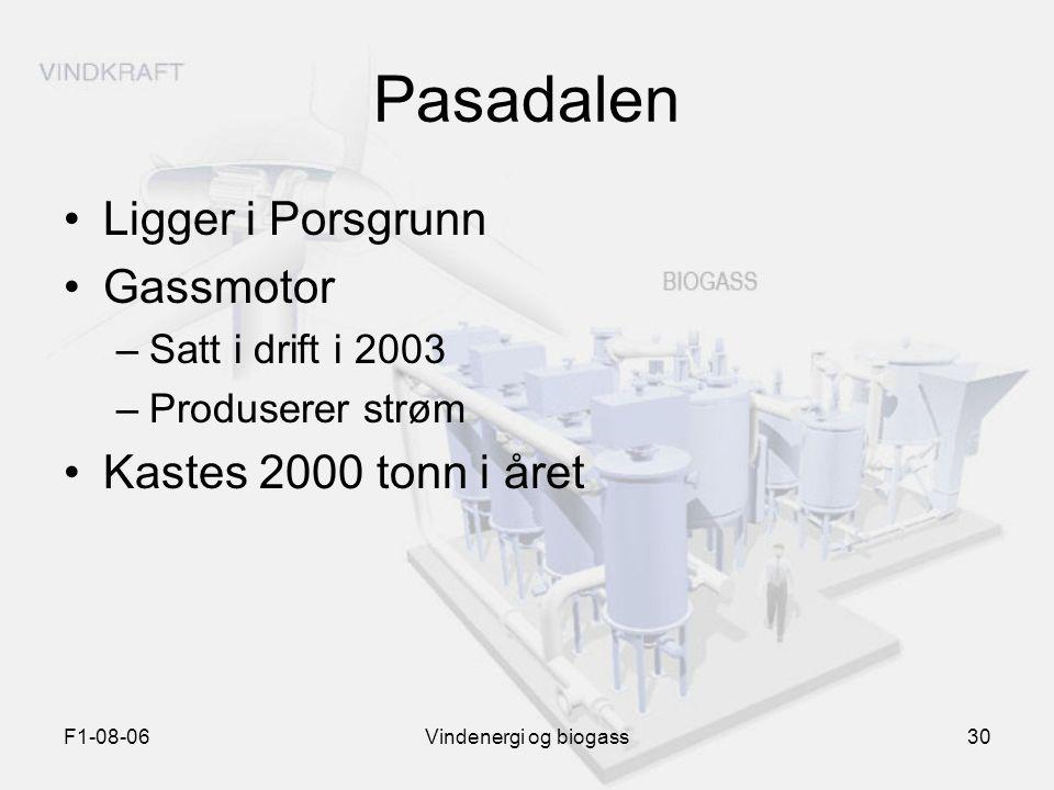 F1-08-06Vindenergi og biogass30 Pasadalen Ligger i Porsgrunn Gassmotor –Satt i drift i 2003 –Produserer strøm Kastes 2000 tonn i året