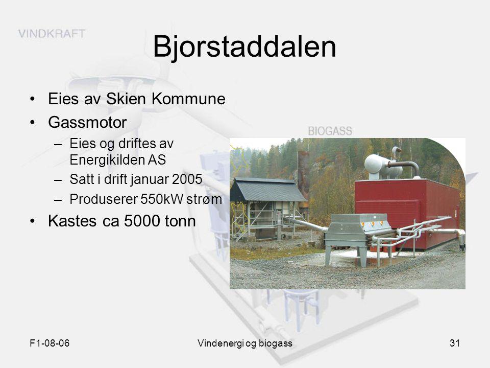 F1-08-06Vindenergi og biogass31 Bjorstaddalen Eies av Skien Kommune Gassmotor –Eies og driftes av Energikilden AS –Satt i drift januar 2005 –Produsere