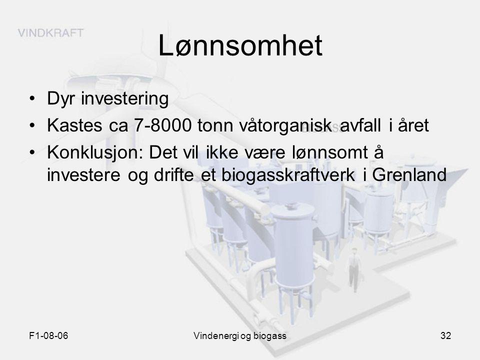 F1-08-06Vindenergi og biogass32 Lønnsomhet Dyr investering Kastes ca 7-8000 tonn våtorganisk avfall i året Konklusjon: Det vil ikke være lønnsomt å in