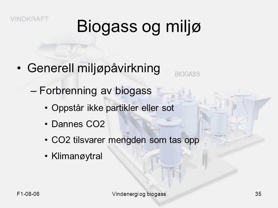 F1-08-06Vindenergi og biogass35 Biogass og miljø Generell miljøpåvirkning –Forbrenning av biogass Oppstår ikke partikler eller sot Dannes CO2 CO2 tils