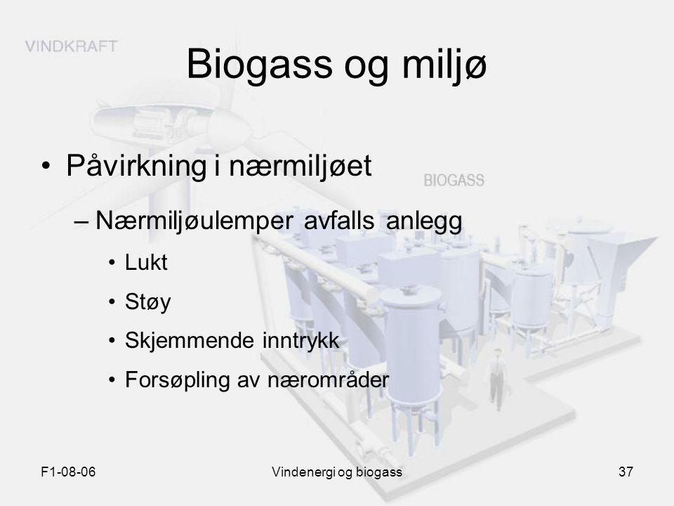 F1-08-06Vindenergi og biogass37 Biogass og miljø Påvirkning i nærmiljøet –Nærmiljøulemper avfalls anlegg Lukt Støy Skjemmende inntrykk Forsøpling av n