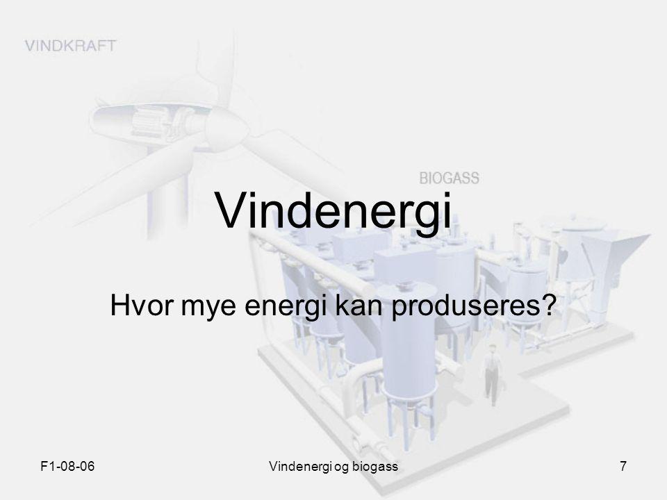 F1-08-06Vindenergi og biogass7 Vindenergi Hvor mye energi kan produseres?