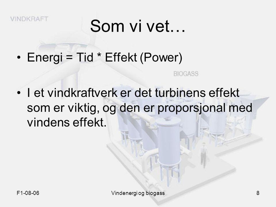 F1-08-06Vindenergi og biogass8 Som vi vet… Energi = Tid * Effekt (Power) I et vindkraftverk er det turbinens effekt som er viktig, og den er proporsjo