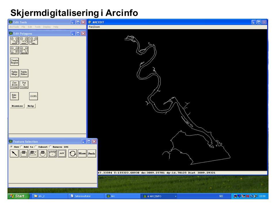 Skjermdigitalisering i Arcinfo