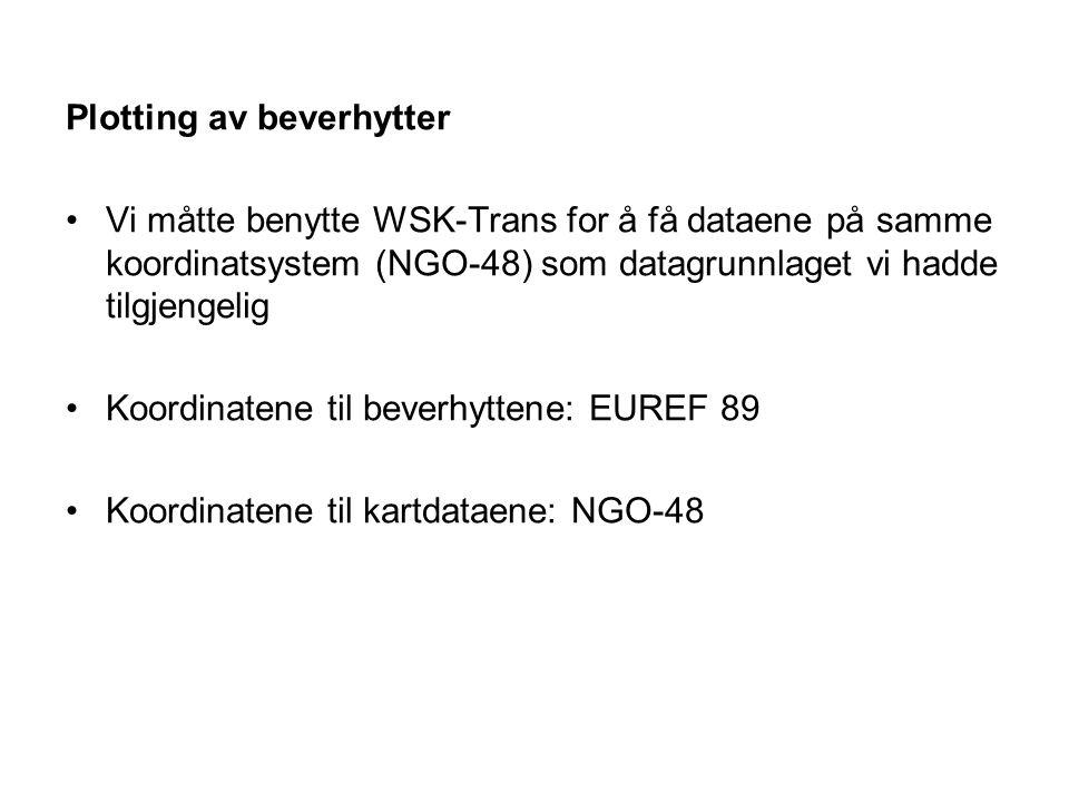 Plotting av beverhytter Vi måtte benytte WSK-Trans for å få dataene på samme koordinatsystem (NGO-48) som datagrunnlaget vi hadde tilgjengelig Koordin