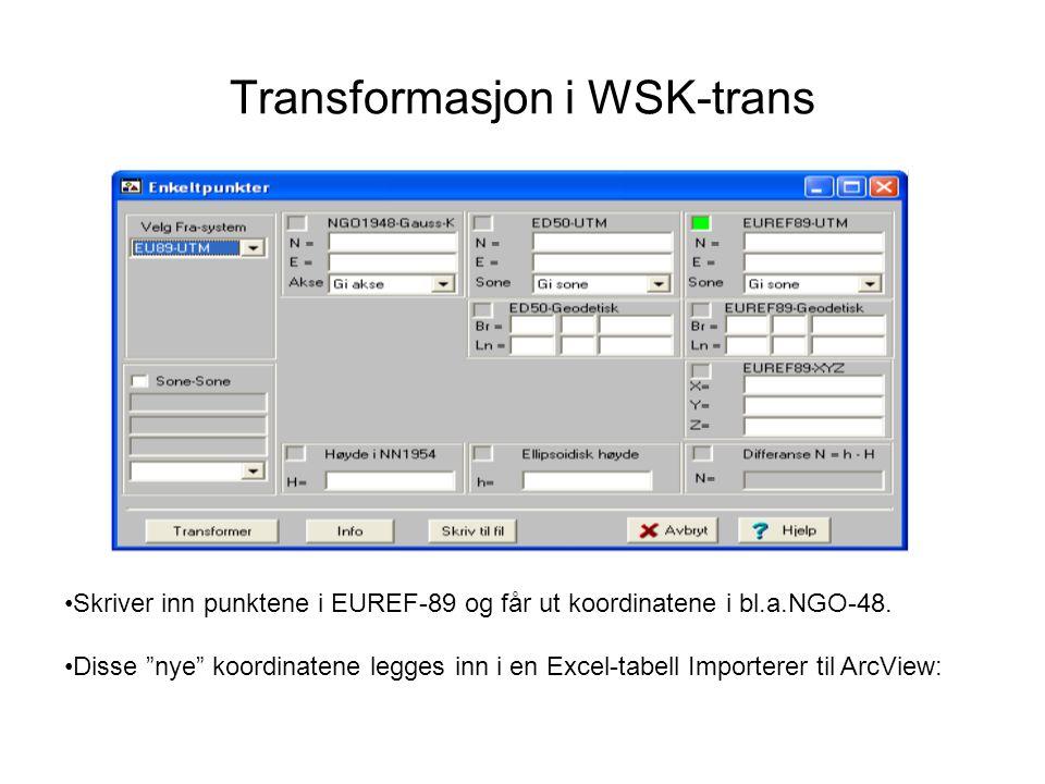 """Transformasjon i WSK-trans Skriver inn punktene i EUREF-89 og får ut koordinatene i bl.a.NGO-48. Disse """"nye"""" koordinatene legges inn i en Excel-tabell"""