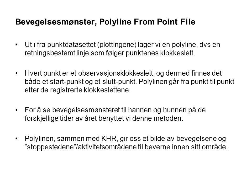Bevegelsesmønster, Polyline From Point File Ut i fra punktdatasettet (plottingene) lager vi en polyline, dvs en retningsbestemt linje som følger punkt