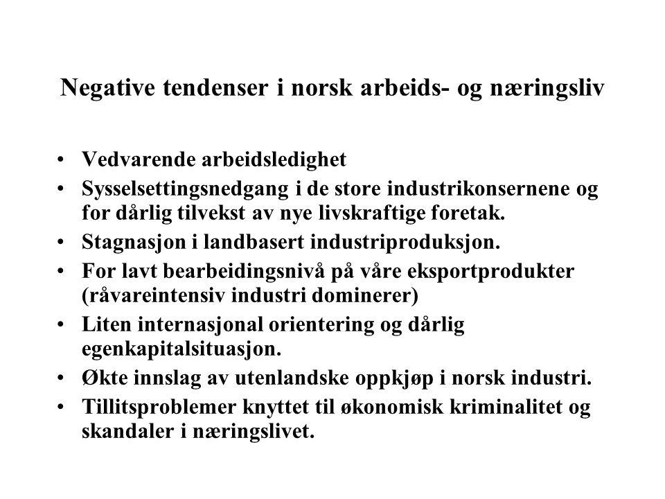 Negative tendenser i norsk arbeids- og næringsliv Vedvarende arbeidsledighet Sysselsettingsnedgang i de store industrikonsernene og for dårlig tilvekst av nye livskraftige foretak.