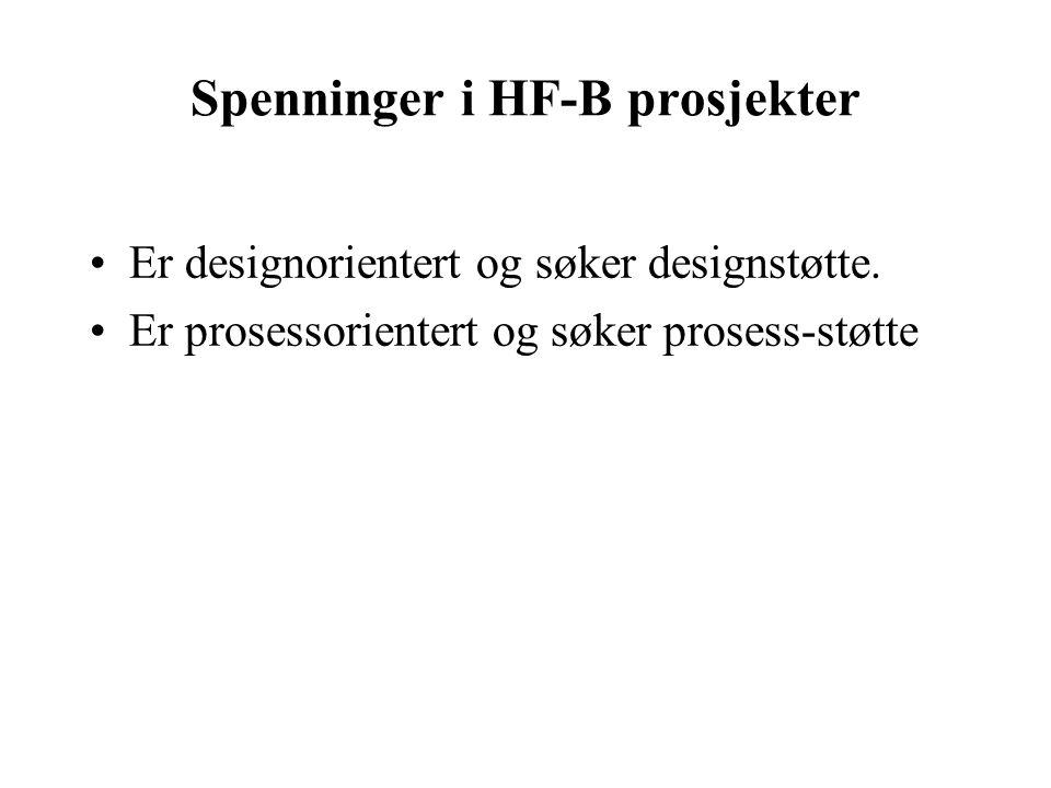 Spenninger i HF-B prosjekter Er designorientert og søker designstøtte.