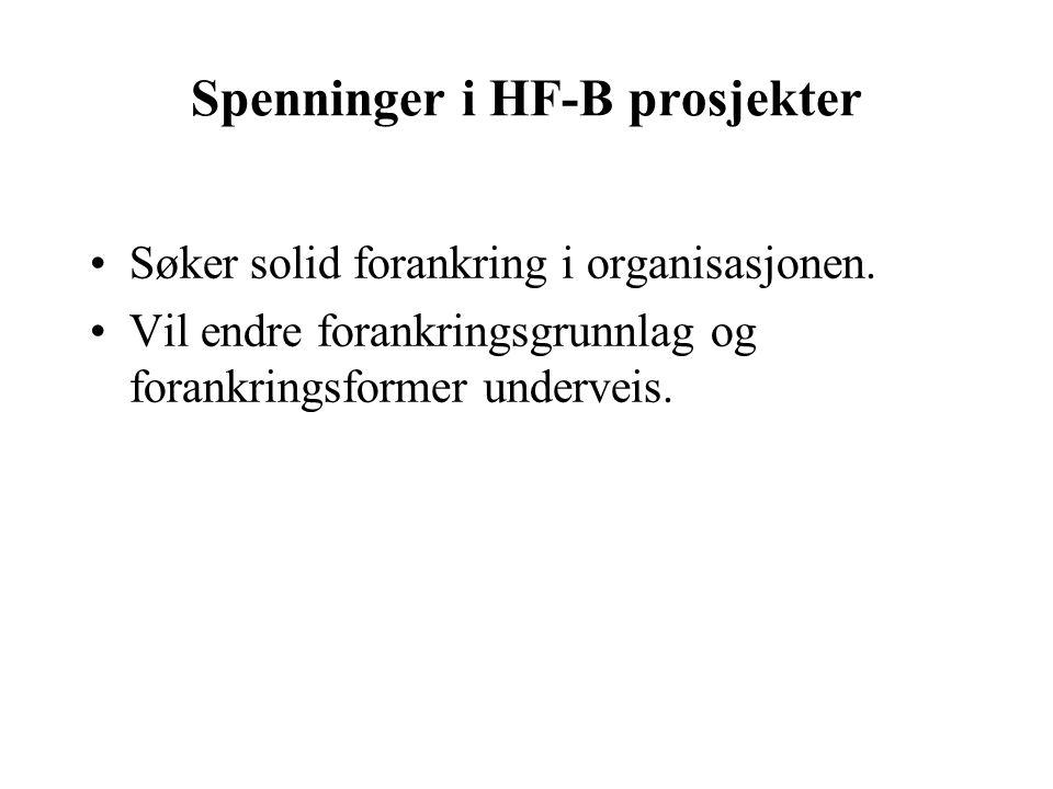 Spenninger i HF-B prosjekter Søker solid forankring i organisasjonen.