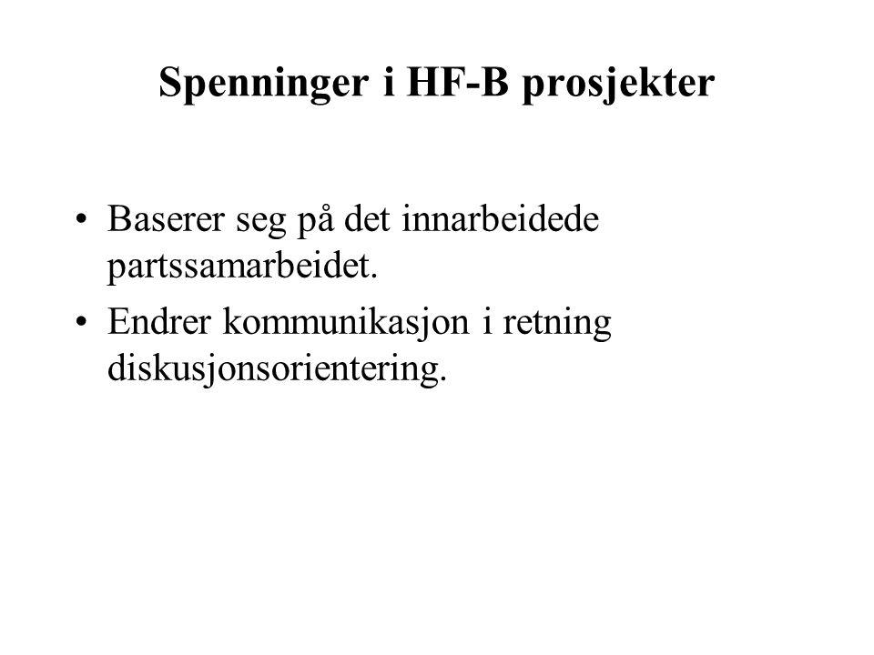 Spenninger i HF-B prosjekter Baserer seg på det innarbeidede partssamarbeidet.