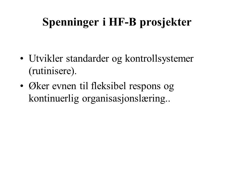 Spenninger i HF-B prosjekter Utvikler standarder og kontrollsystemer (rutinisere).