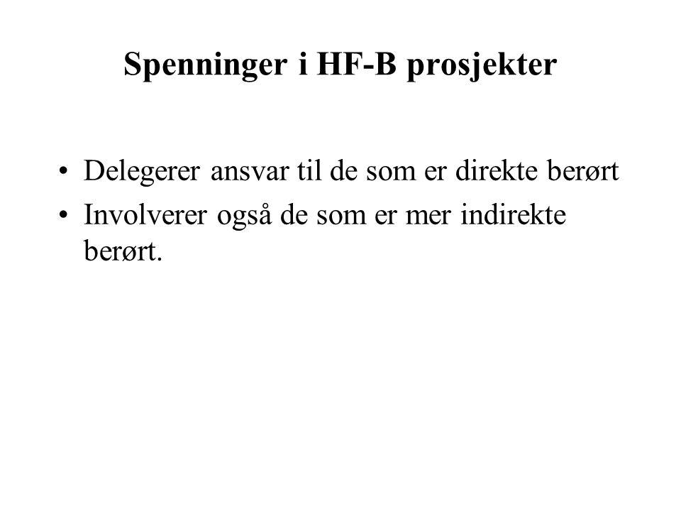 Spenninger i HF-B prosjekter Delegerer ansvar til de som er direkte berørt Involverer også de som er mer indirekte berørt.