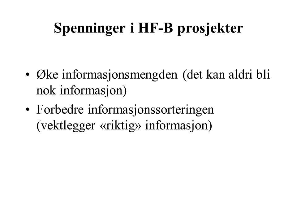 Spenninger i HF-B prosjekter Øke informasjonsmengden (det kan aldri bli nok informasjon) Forbedre informasjonssorteringen (vektlegger «riktig» informasjon)