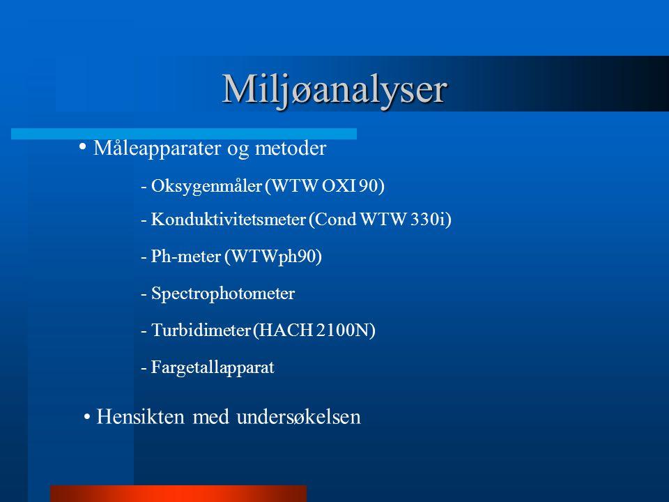 Miljøanalyser Måleapparater og metoder - Oksygenmåler (WTW OXI 90) - Konduktivitetsmeter (Cond WTW 330i) - Ph-meter (WTWph90) - Spectrophotometer - Turbidimeter (HACH 2100N) - Fargetallapparat Hensikten med undersøkelsen