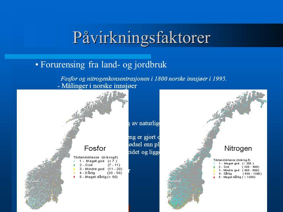 Påvirkningsfaktorer Forurensing fra land- og jordbruk - Målinger i norske innsjøer - Overgjødsling - Årsaker til avrenning: - Planering og fjerning av naturlige hindringer som f.eks dalsøkk, vegetasjonsbelter osv.