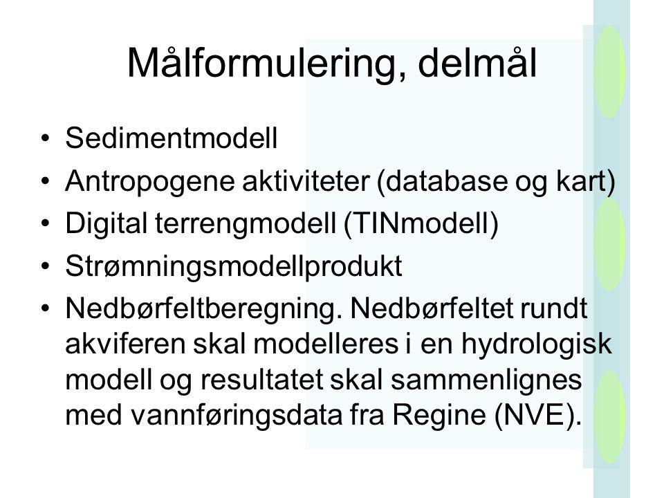 Målformulering, delmål Sedimentmodell Antropogene aktiviteter (database og kart) Digital terrengmodell (TINmodell) Strømningsmodellprodukt Nedbørfeltberegning.