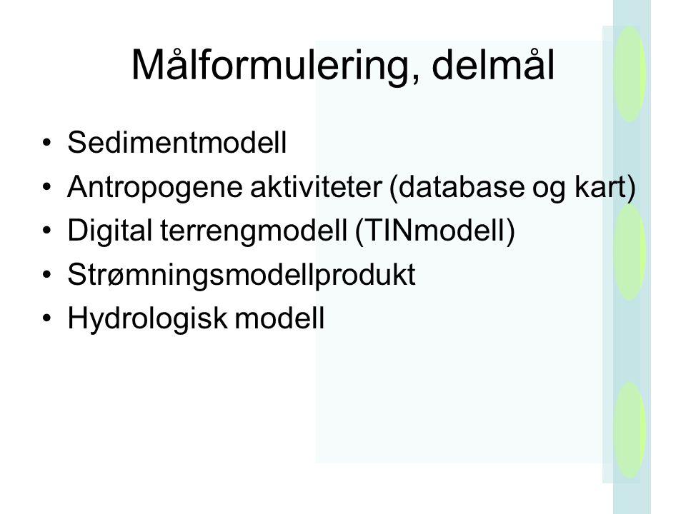 Målformulering, delmål Sedimentmodell Antropogene aktiviteter (database og kart) Digital terrengmodell (TINmodell) Strømningsmodellprodukt Hydrologisk modell