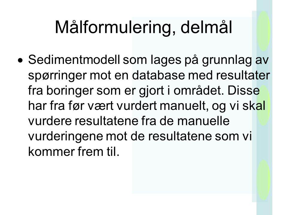 Målformulering, delmål  Sedimentmodell som lages på grunnlag av spørringer mot en database med resultater fra boringer som er gjort i området.