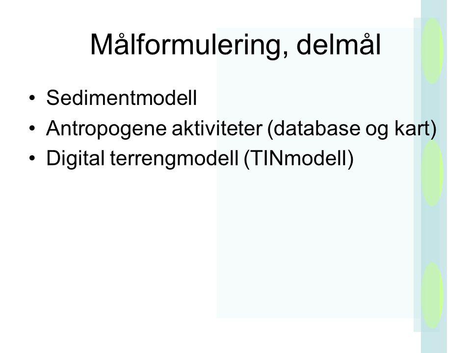 Målformulering, delmål Sedimentmodell Antropogene aktiviteter (database og kart) Digital terrengmodell (TINmodell)