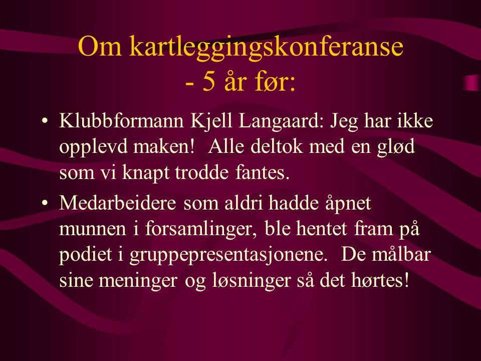 Om kartleggingskonferanse - 5 år før: Klubbformann Kjell Langaard: Jeg har ikke opplevd maken.