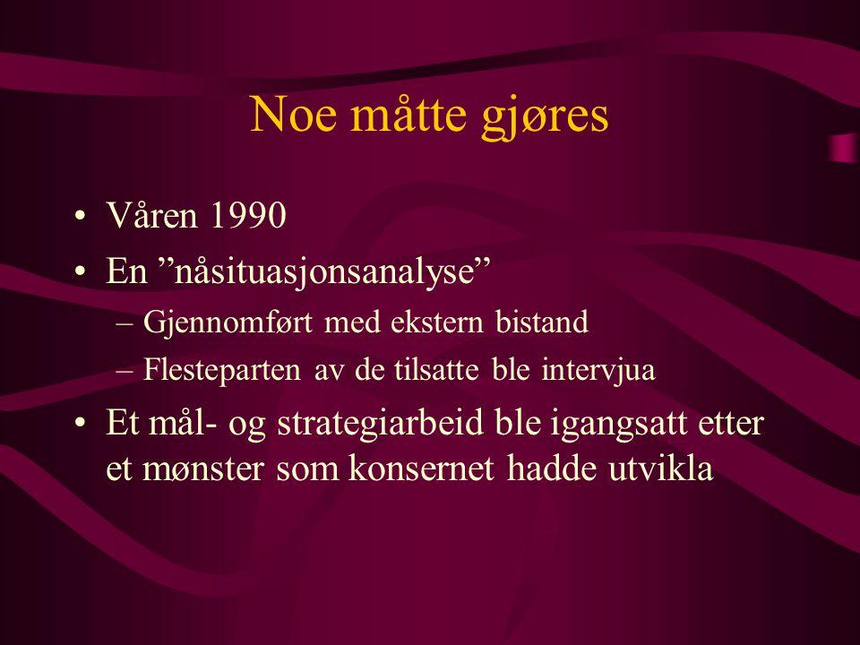 Januar 1993 - ny bedriftskonferanse for alle tilsatte –oppsummering av prosjektet så langt –utarbeide nye mål for bedriften for perioden 93 - 95